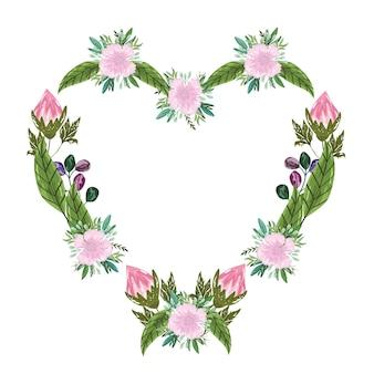 Bouquet di fiori cornice floreale a forma di cuore, illustrazione pittura
