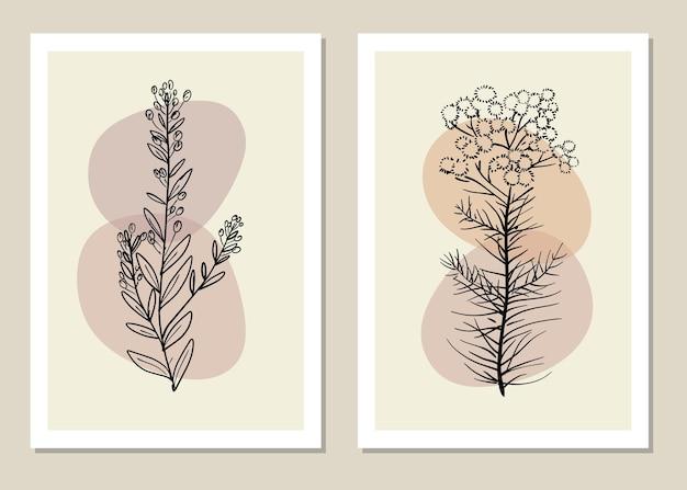 Arte della parete di fiori e rami in stile linea