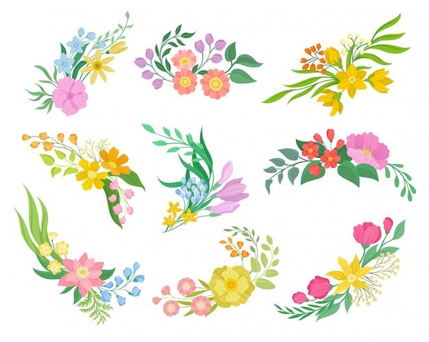 Raccolta di fiori su sfondo bianco. primavera e concetto floreale.