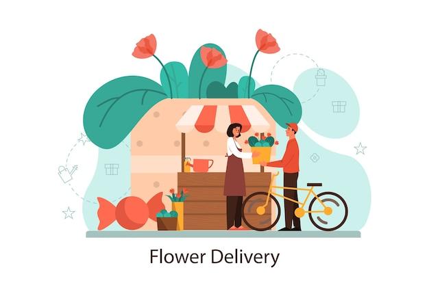 Concetto di servizio di consegna di fiori. fiorista professionista passa fiori