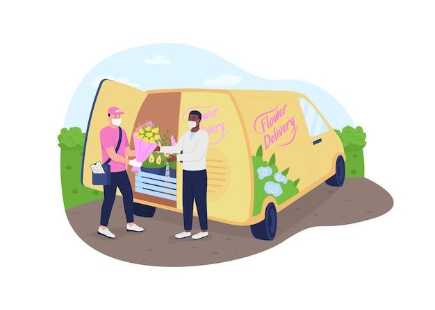Camion per la consegna di fiori durante la pandemia. uomini con bouquet in maschera