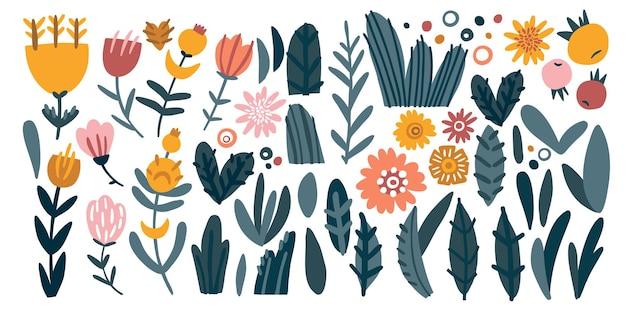 Fiori e foglie scarabocchiano illustrazione vettoriale boccioli di fiori in fiore e composizione di foglie esotiche