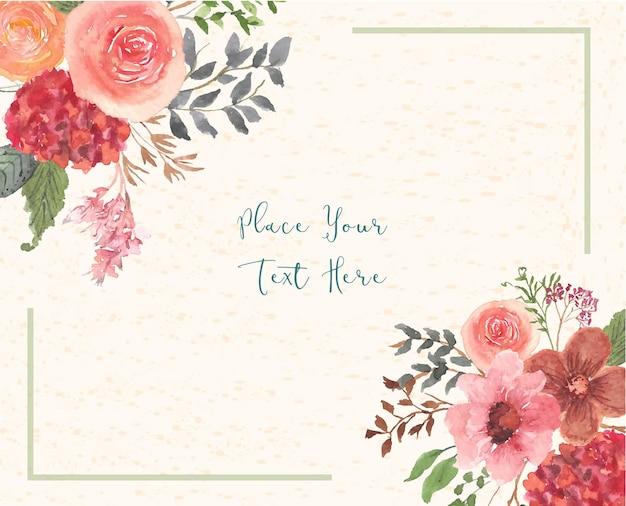 Carta dell'acquerello di fiori e foglie