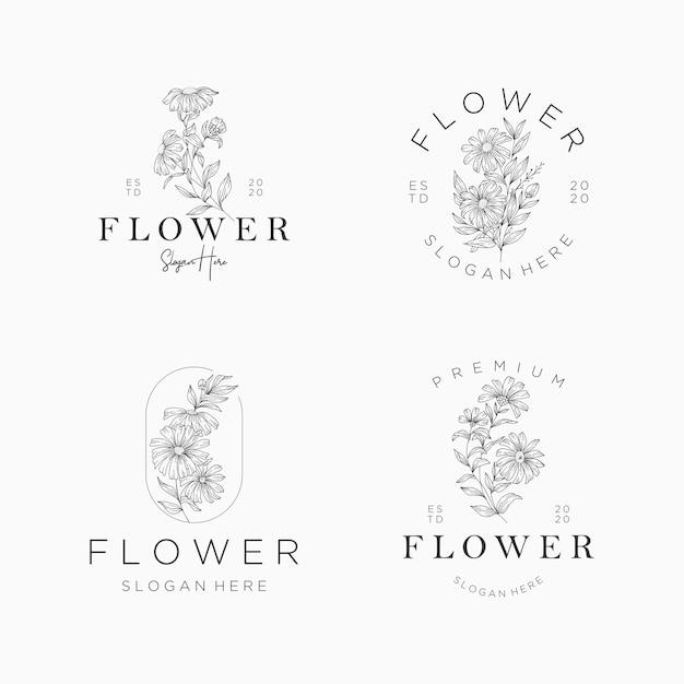 Modello di progettazione di logo di fiori. set di fiori disegnati a mano con foglie e rami