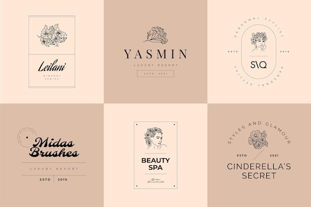 Set di modelli con logo fiori