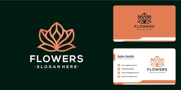 Design del logo monolinea di lusso con fiori e biglietto da visita