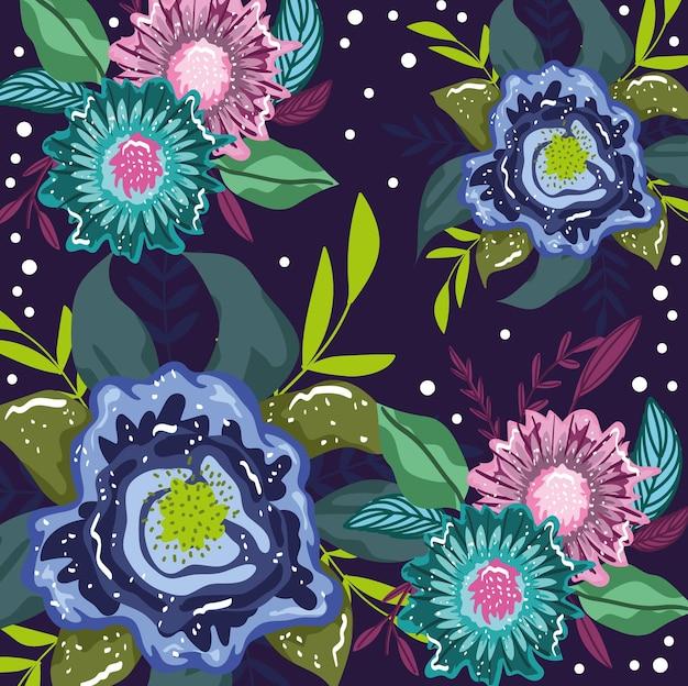 Fondo botanico del fogliame della foglia della decorazione naturale dei fiori, pittura dell'illustrazione