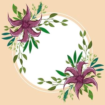 Distintivo di vegetazione del fogliame naturale dei fiori, pittura dell'illustrazione