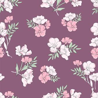 Modello di fiori ornamento senza soluzione di continuità, motivo floreale.
