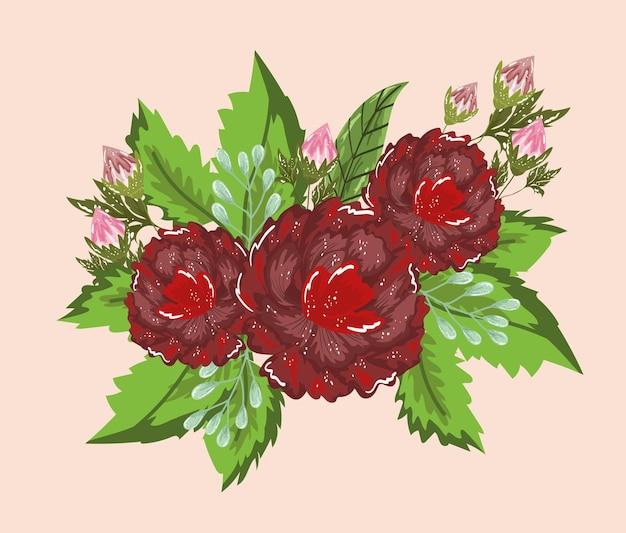 Fiori germogliano foglie natura decorazione illustrazione pittura