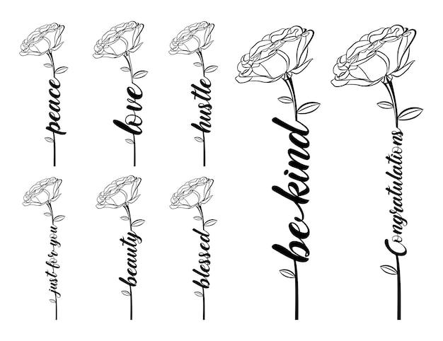 Design tipografico di fiori per t-shirt stampate e altro
