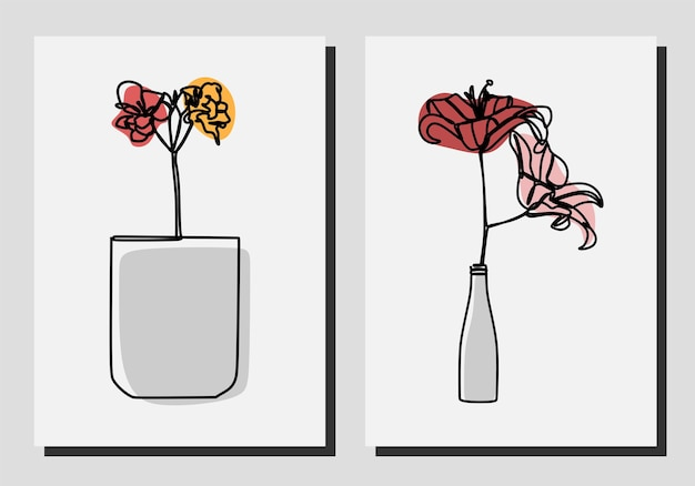 Fiori in un vaso una linea continua arte set vettore premium