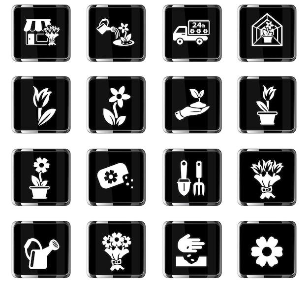 Icone web di fiori per il design dell'interfaccia utente