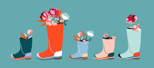 Fiori in wellies poster / banner orizzontale.