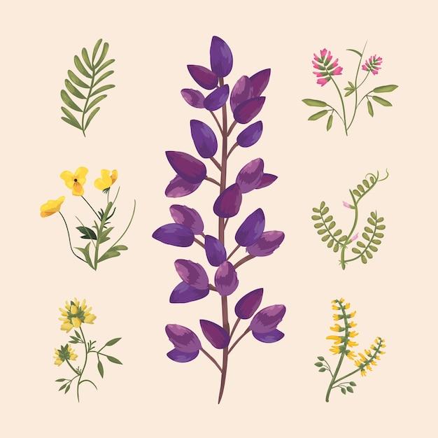 Fiori con foglie icona scenografia, pianta floreale naturale e tema ornamento