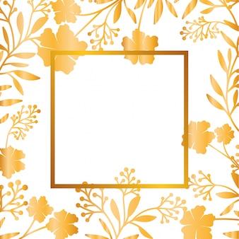 Fiori con foglie con icona cornice isolata