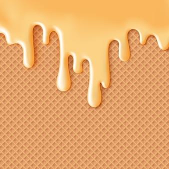 Glassa al caramello fluente su sfondo di cibo dolce trama di wafer abstractxgelato di glassa di feltro su waffle seamless pattern modificabile facile cambiare i colori