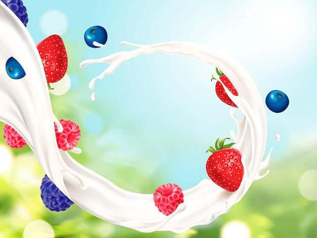 Latte che scorre con illustrazione di frutta