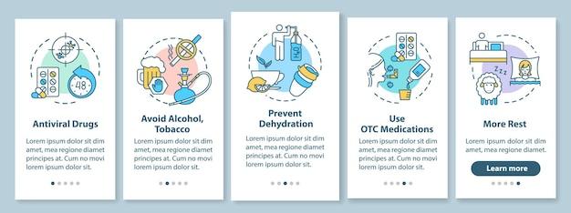 Schermata della pagina dell'app mobile onboarding del trattamento antinfluenzale con i concetti. idratare, medicare. istruzioni grafiche in 5 passaggi per la cura dell'influenza. modello vettoriale dell'interfaccia utente con illustrazioni a colori rgb