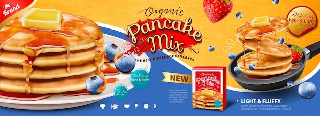 Fluffy pancake banner pubblicitari con frutta e miele che gocciolano su di esso