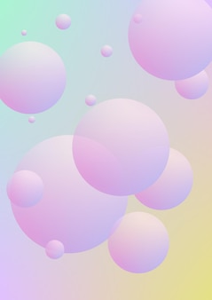 Poster fluido con forme rotonde. cerchi sfumati su sfondo olografico. modello moderno hipster per cartelloni, copertine, striscioni, volantini, presentazioni, annuali. poster fluido minimale in colori al neon.