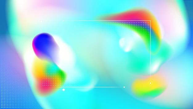 Gli elementi della linea di punti colorati arcobaleno fluido incorniciano lo sfondo astratto
