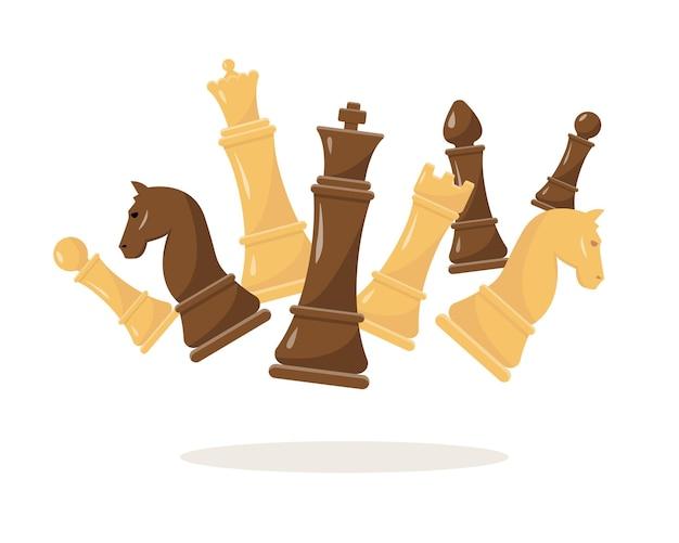 Figure di scacchi fluing scacchi bianchi e neri re regina vescovo cavaliere torre e pedone