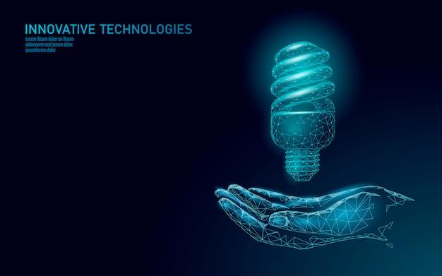 Concetto di lampadina a risparmio energetico fluorescente compatta.