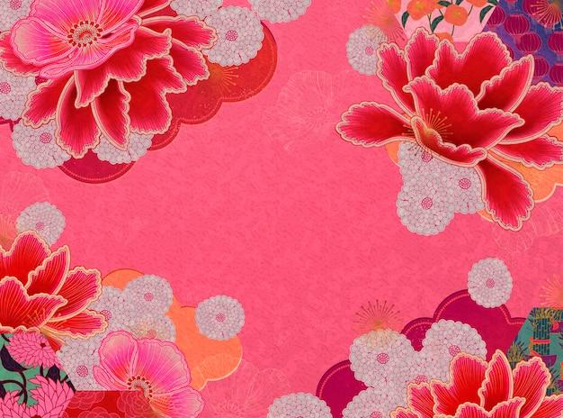 Sfondo floreale rosa fluorescente con spazio di copia