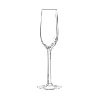 Bicchiere flauto. schizzo di bicchiere di champagne vuoto disegnato a mano. bicchiere da spumante. stile di incisione. illustrazione vettoriale isolato su sfondo bianco.