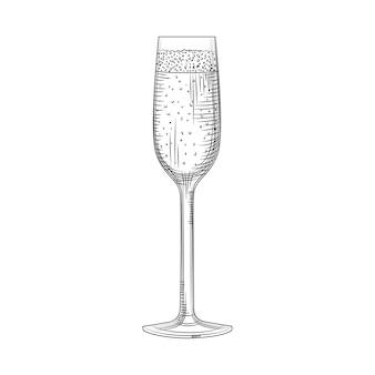 Bicchiere flauto. abbozzo di bicchiere di champagne pieno disegnato a mano. bicchiere da spumante. stile di incisione. illustrazione vettoriale isolato su sfondo bianco.