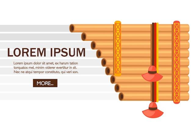 Padella per flauto con motivo tradizionale indiano. strumento musicale americano. illustrazione su sfondo bianco. posto per il testo. pagina del sito web e app mobile