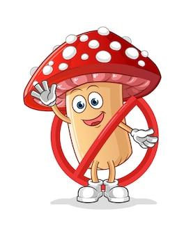 L'agarico di mosca dice no alla mascotte del fungo isolata su bianco