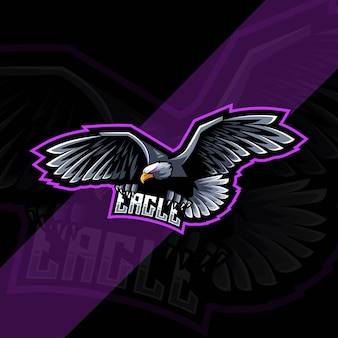 Fly eagle mascot logo esports template design