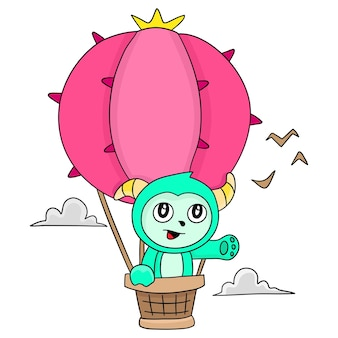 Vola con una mongolfiera. adesivo carino illustrazione dei cartoni animati