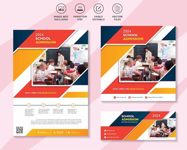Volantino banner modello di post sui social media per l'ammissione alla scuola