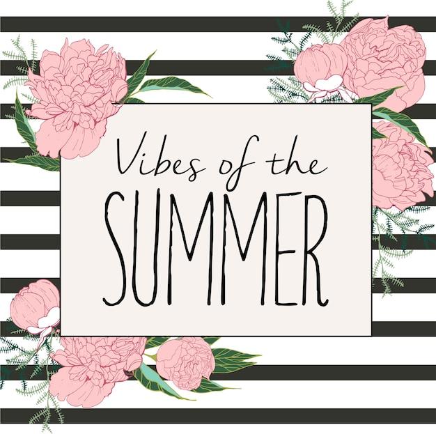 Volantino o banner. vibrazioni estive. peonie e strisce disegnate a mano. arte vintage incisa
