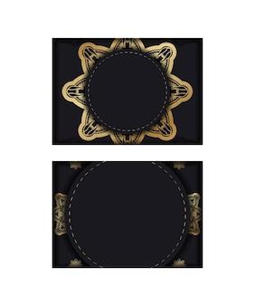 Volantino in nero con lussuosi ornamenti dorati per il tuo marchio.