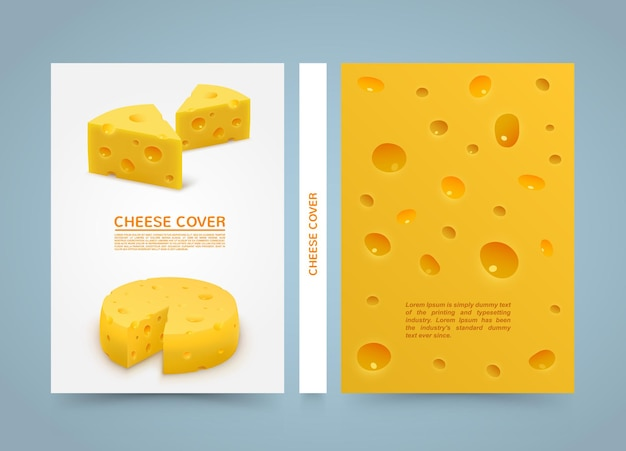 Libro della bandiera del formaggio dell'aletta di filatoio. carta formato a4, elemento di design modello, sfondo vettoriale