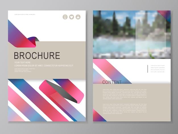 Volantino e design del modello di copertina con uno scenario sfocato della riva del fiume