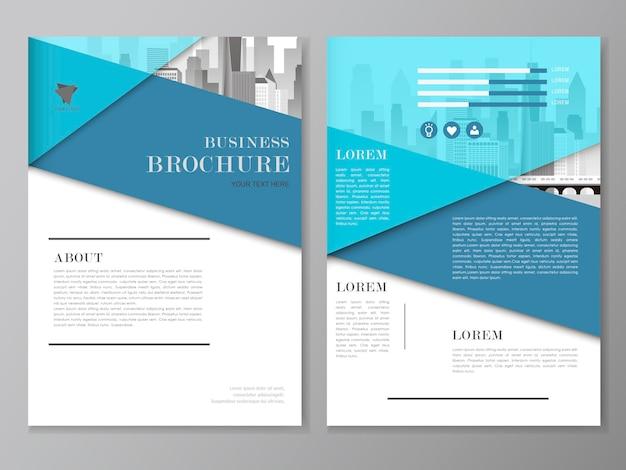 Volantino e modello di copertina design con paesaggio urbano