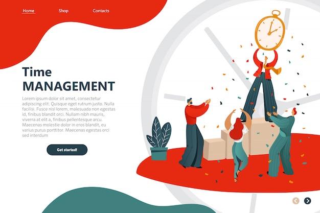 Cartone animato di gestione del tempo iscrizione flyer piatto. modello web della pagina di destinazione