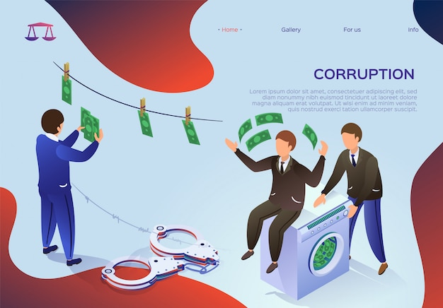 Il volantino è scritto corruzione, riciclaggio di denaro.