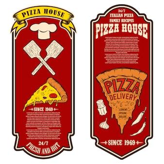 Volantino di pizzeria. elementi di design per logo, etichetta, segno, distintivo, poster. illustrazione vettoriale