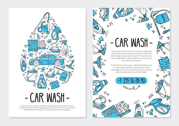 Volantino o poster per l'autolavaggio e i dettagli dell'auto in stile doodle