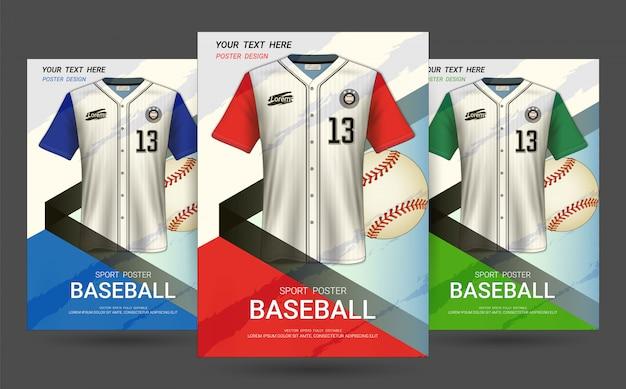 Modello di copertina volantino e poster con design di jersey da baseball.