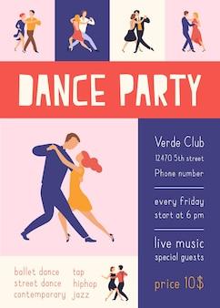 Modello di volantino o poster con persone eleganti che ballano il tango argentino per la festa da ballo o la pubblicità del festival
