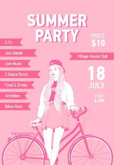 Modello di volantino o poster con giovane donna vestita in abiti alla moda appoggiandosi indietro sulla bici della città disegnata con linee di contorno su sfondo rosa. illustrazione per promo festa estiva, pubblicità.