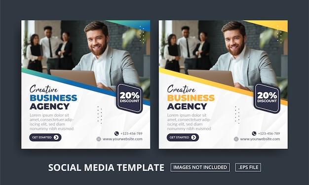 Volantino o agenzia di affari a tema post sui social media