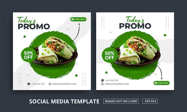 Volantino o menu di cibo a tema post sui social media